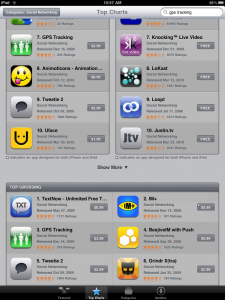 GPS Tracking is the third highest grossing app on iTunes.